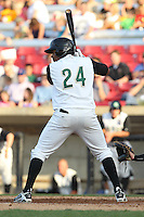 Kane County Cougars outfielder Jorge Bonifacio #24 bats during a game against the Beloit Snappers at Fifth Third Bank Ballpark on June 26, 2012 in Geneva, Illinois. Beloit defeated Kane County 8-0. (Brace Hemmelgarn/Four Seam Images)