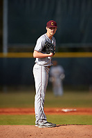 Central Michigan Chippewas starting pitcher Grant Wolfram (30) looks in for the sign during a game against the Boston College Eagles on March 8, 2016 at North Charlotte Regional Park in Port Charlotte, Florida.  Boston College defeated Central Michigan 9-3.  (Mike Janes/Four Seam Images)