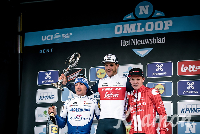 podium:<br /> 1st place Jasper Stuyven (BEL/Trek Segafredo)<br /> 2nd place Yves Lampaert (BEL/Deceuninck-Quick Step)<br /> 3th place Soren Kragh Andersen (NOR/Team Sunweb)<br /> <br /> 75th Omloop Het Nieuwsblad 2020 (BEL)<br /> Men Elite Race<br /> Gent – Ninove: 200km<br /> <br /> ©kramon