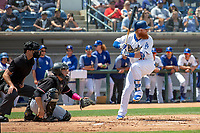 Los Angeles Dodger Justin Turner (31) on rehab assignment playing for the Rancho Cucamonga Quakes takes his at bat against the Visalia Rawhide at LoanMart Field on May 13, 2018 in Rancho Cucamonga, California. The Quakes defeated the Rawhide 3-2.  (Donn Parris/Four Seam Images)