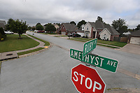 Amethyst Ave. in the Chantel subdivision, seen here Thursday Sept. 3, 2020, shares a name with another Amythyst Ave. in Springdale since Bethel Heights was annexed into Springdale recently. To avoid problems for emergency services, Springdale officials are considering their options. (NWA Democrat-Gazette/J.T.WAMPLER)