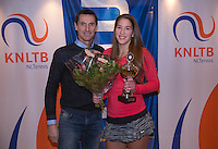 Hilversum, Netherlands, December 4, 2016, Winter Youth Circuit Masters, Winner girls 16 years, Kim Hansen with Fedcup captain Paul Haarhuis.<br /> Photo: Tennisimages/Henk Koster