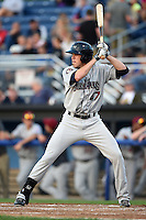 Mahoning Valley Scrappers outfielder Bradley Zimmer (47) at bat during a game against the Batavia Muckdogs on August 22, 2014 at Dwyer Stadium in Batavia, New York.  Mahoning Valley defeated Batavia 2-1.  (Mike Janes/Four Seam Images)