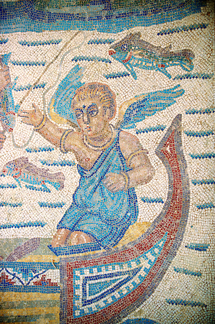 Cupid in a boat from the Room of the Fishing Cupids no 24, - Roman mosaics at the Villa Romana del Casale which containis the richest, largest and most complex collection of Roman mosaics in the world. Constructed  in the first quarter of the 4th century AD. Sicily, Italy. A UNESCO World Heritage Site.