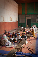 Agra, India.  Imam and Madrasa Students at the Jama Masjid (Friday Mosque).