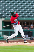 Fort Wayne TinCaps Dwanya Williams-Sutton (11) during a Midwest League game against the Fort Wayne TinCaps at Parkview Field on April 30, 2019 in Fort Wayne, Indiana. Kane County defeated Fort Wayne 7-4. (Zachary Lucy/Four Seam Images)