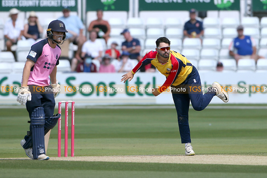 Aron Nijjar in bowling action for Essex during Essex Eagles vs Middlesex, Vitality Blast T20 Cricket at The Cloudfm County Ground on 18th July 2021