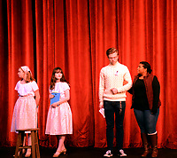 Marc Hayot/Herald Leader. Lindsey Bolstad (left), Emma Bryant depart the stage as Clayton Hoskins and Rachel Mann continue to sing.