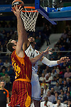 Real Madrid´s Gustavo Ayon and Galatasaray´s Maric during 2014-15 Euroleague Basketball match between Real Madrid and Galatasaray at Palacio de los Deportes stadium in Madrid, Spain. January 08, 2015. (ALTERPHOTOS/Luis Fernandez)
