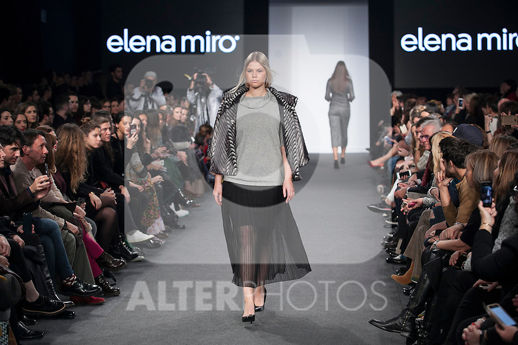 A model presents Elena Miro new collection during Madrid Fashion Show MFS in Madrid, Spain. February 10, 2016. (ALTERPHOTOS/Victor Blanco)