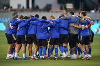 SAN JOSE, CA - MAY 1: San Jose Earthquakes players huddle during a game between D.C. United and San Jose Earthquakes at PayPal Park on May 1, 2021 in San Jose, California.