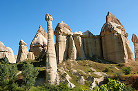 Fairy chimney tuff rock pillars formations of Love Valley, Goreme, Cappadocia, Turkey