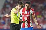 Spanish referee Ricardo de Burgos Bengoetxea has words with Atletico de Madrid's Jose Maria Gimenez during La Liga match. August 22,2021. (ALTERPHOTOS/Acero)