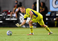LAKE BUENA VISTA, FL - JULY 26: Tim Melia of Sporting KC rolls the ball during a game between Vancouver Whitecaps and Sporting Kansas City at ESPN Wide World of Sports on July 26, 2020 in Lake Buena Vista, Florida.