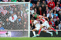 Sunday, 19 October 2014<br /> Pictured: Jonathan Walters of Stoke City scores his sides second goal. 2-1<br /> Re: Barclay's Premier League, Stoke City FC v Swansea City FC v at Britannia Stadium, Stoke, Staffordshire,UK.