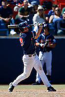 Matt Chapman #19 of the Cal State Fullerton Titans bats against the Texas A&M Aggies at Goodwin Field on March 10, 2013 in Fullerton, California. (Larry Goren/Four Seam Images)