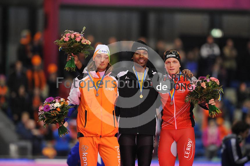 SCHAATSEN: HEERENVEEN: Thialf, Essent ISU World Cup, 02-03-2012, Podium 1500m, Kjeld Nuis (NED), Shani Davis (USA), Håvard Bøkko (NOR), ©foto: Martin de Jong