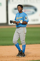 Myrtle Beach shortstop Elvis Andrus (17) walks to his position after being thrown out at first to end the top of the 6th inning versus Winston-Salem at Ernie Shore Field in Winston-Salem, NC, Monday, May 28, 2007.