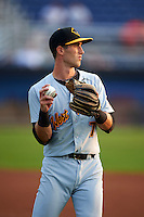 West Virginia Black Bears shortstop Erik Forgione (7) during warmups before a game against the Batavia Muckdogs on August 31, 2015 at Dwyer Stadium in Batavia, New York.  Batavia defeated West Virginia 5-4.  (Mike Janes/Four Seam Images)