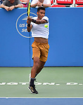 August 1,2019:   Felix Auger-Aliassime (CAN) loses to Marin Cilic (CRO) 6-3, 6-4, at the CitiOpen being played at Rock Creek Park Tennis Center in Washington, DC, .  ©Leslie Billman/Tennisclix/CSM