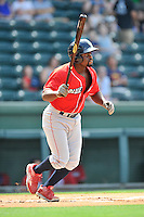 Second baseman Josh Tobias (5) of the Lakewood BlueClaws bats in a game against the Greenville Drive on Sunday, June 26, 2016, at Fluor Field at the West End in Greenville, South Carolina. Greenville won, 2-1. (Tom Priddy/Four Seam Images)