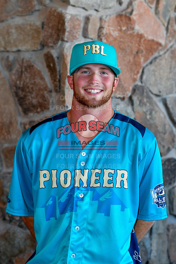 Andrew Jordan (23) of the Billings Mustangs and the Pioneer League All-Stars poses for a photo during activities before the 2nd Annual Northwest League-Pioneer League All-Star Game at Snowbasin Resort on August 1, 2016 in Ogden, Utah. (Stephen Smith/Four Seam Images)