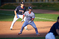 Reading Fightin Phils left fielder Aaron Brown (27) leads off in front of first baseman Nate Freiman (35) during a game against the Portland Sea Dogs on May 31, 2016 at Hadlock Field in Portland, Maine.  Reading defeated Portland 6-4.  (Mike Janes/Four Seam Images)