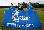 Richard Foster and Lee McCulloch presented with the SPFL League One flag by 13 year old supporter Adam Campbell