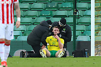 13th February 2021; Carrow Road, Norwich, Norfolk, England, English Football League Championship Football, Norwich versus Stoke City; Oliver Skipp of Norwich City receives treatment for a neck injury