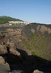 Spain, Canary Islands, La Palma, view across vulcano San Antonio at village Los Canarios Fuencaliente