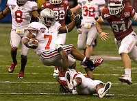 Jordan Hall of Ohio State in action against Arkansas during 77th Annual Allstate Sugar Bowl Classic at Louisiana Superdome in New Orleans, Louisiana on January 4th, 2011.  Ohio State defeated Arkansas, 31-26.