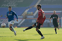 7th November 2020; Liverpool, England;  Manchester Uniteds Bruno Fernandes scores his second goal during the Premier League match between Everton and Manchester United at Goodison Park Stadium