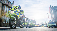 Picture by Allan McKenzie/SWpix.com - 30/04/2016 - Cycling - 2016 Asda Women's Tour de Yorkshire: Otley to Doncaster - Yorkshire, England - Police motorbikes prepare to roll out ahead of the women's race.