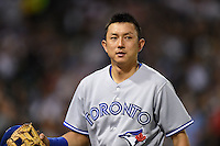 Toronto Blue Jays second baseman Munenori Kawasaki (66) during a game against the Chicago White Sox on August 15, 2014 at U.S. Cellular Field in Chicago, Illinois.  Chicago defeated Toronto 11-5.  (Mike Janes/Four Seam Images)