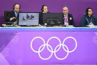 OLYMPIC GAMES: PYEONGCHANG: 17-02-2018, Gangneung Ice Arena, Short Track, Video Referee Gialt Biesma (NED) Berlikum, 3e rechts, ©photo Martin de Jong