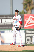 Joe Smith (9) of the Inland Empire 66ers, while on a rehab assignment for the Los Angeles Angels, pitches against the Visalia Rawhide at San Manuel Stadium on June 26, 2016 in San Bernardino, California. Inland Empire defeated Visalia, 5-1. (Larry Goren/Four Seam Images)
