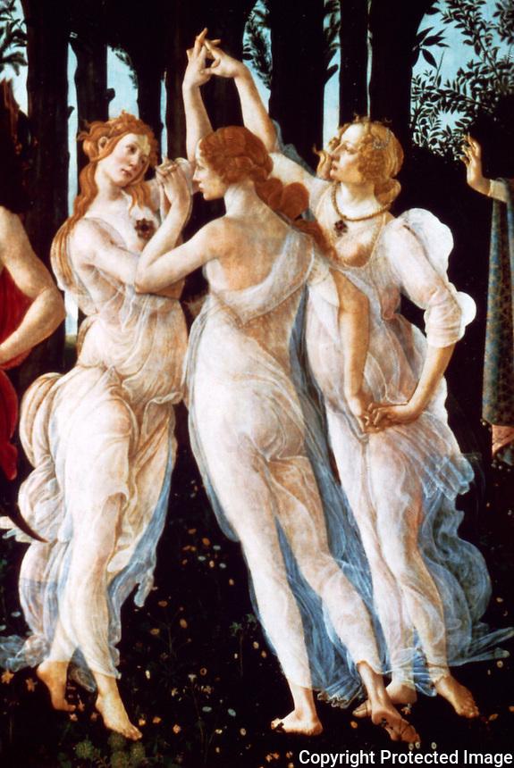 Renaissance Art:  Botticelli (1445-1510)--Detail of The Spring.  Galleria Uffizi.