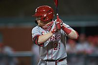 Brandon Miller (21) of the St. John's Red Storm at bat against the Western Carolina Catamounts at Childress Field on March 12, 2021 in Cullowhee, North Carolina. (Brian Westerholt/Four Seam Images)