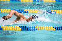 BERKELEY, CA - Feb. 18, 2017: Cal's Ryan Kao swims in the Men 1000 Yard Freestyle.  Cal Men's Swimming and Diving competed against Stanford at Spieker Aquatics Complex.
