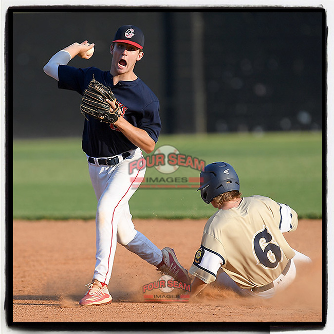 Zach Kahler (6) of Easley is out at second as second baseman Brody Fahr (11) of the Greer Warhawks turns a double play in a South Carolina American League game against Easley on Thursday, July 16, 2020, at Stevens Field in Greer, South Carolina. Greer won, 9-4. (Tom Priddy/Four Seam Images)