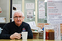 Pictured: Michael Cosker at his cafe in Aberafan shopping centre in Port Talbot, Wales, UK. Monday 29 January 2018<br /> Re: Some of the Port Talbot steel workers' pensions are under threat after being persuaded to change providers.