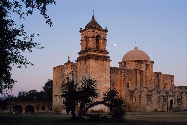 Mission San José at moonrise, San Antonio Missions National Historic Park, San Antonio,Texas, USA