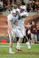 TEMPE, AZ - November 13, 2010: Owen Marecic (48) and Michael Thomas (3) during a football game at Arizona State University in Tempe, Arizona. Stanford won 17-13.