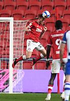 16th February 2021; Ashton Gate Stadium, Bristol, England; English Football League Championship Football, Bristol City versus Reading; Tomas Kalas of Bristol City heads the ball clear of his goal
