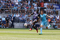 ST PAUL, MN - JULY 18: Robin Lod #17 of Minnesota United FC and Yeimar Gomez Andrade #28 of the Seattle Sounders FC battle for the ball during a game between Seattle Sounders FC and Minnesota United FC at Allianz Field on July 18, 2021 in St Paul, Minnesota.
