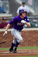LSU Tigers designated hitter Sean McMullen (7) runs to first base against the Texas A&M Aggies in the NCAA Southeastern Conference baseball game on May 10, 2013 at Blue Bell Park in College Station, Texas. LSU defeated Texas A&M 7-4. (Andrew Woolley/Four Seam Images).