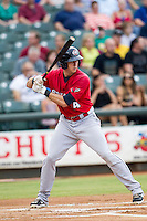 Oklahoma City RedHawks first baseman Matt Duffy (4) at bat during the Pacific Coast League baseball game against the Round Rock Express on August 1, 2014 at the Dell Diamond in Round Rock, Texas. The Express defeated the RedHawks 6-5. (Andrew Woolley/Four Seam Images)