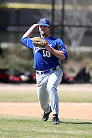 March 15, 2010:  Third Baseman Dan Haugh (10) of the Wheaton College Lyons in a game vs SUNY Cortland at Lake Myrtle Park in Auburndale, FL.  Photo By Mike Janes/Four Seam Images