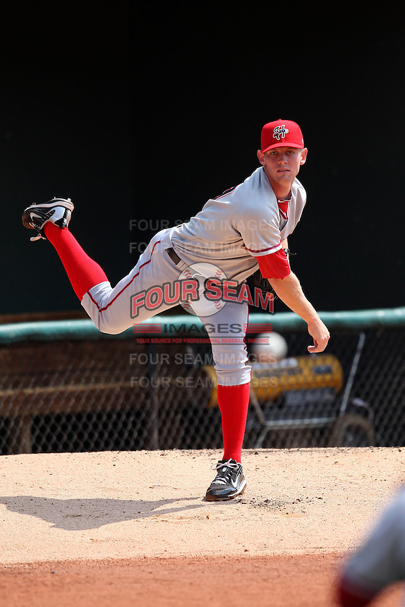 April 11, 2010:  First overall draft pick of the 2009 MLB Draft Stephen Strasburg (37) warms up in the bullpen before making his professional debut with the Harrisburg Senators, Double-A affiliate of the Washington Nationals, in a game vs. the Altoona Curve, affiliate of the Pittsburgh Pirates, at Blair County Ballpark in Altoona, PA.  Photo By Mike Janes/Four Seam Images