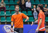 Rotterdam,Netherlands, December 15, 2015,  Topsport Centrum, Lotto NK Tennis, doubles: Tim van Terheijden (L) and Jesse Timmermans (NED)<br /> Photo: Tennisimages/Henk Koster